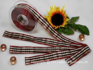 Karoband Schottenkaro Weiß Dunkelbraun Rot mit Draht 25mm