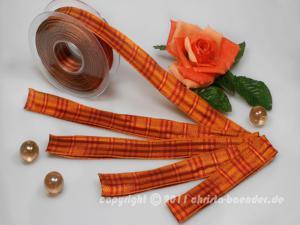 Karoband Schottenkaro Orange Rot mit Draht 25mm - Geschenkband günstig online kaufen!