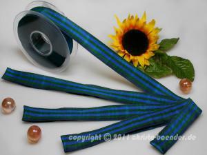 Karoband Schottenkaro Marineblau Grün mit Draht 25mm - Geschenkband günstig online kaufen!