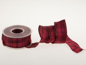 Karoband Schottenkaro Rot mit Draht 40mm