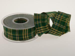 Karoband Schottenkaro Grün mit Draht 40mm