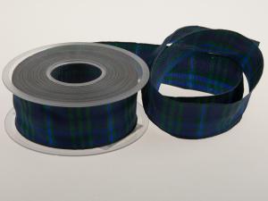 Karoband Schottenkaro Blau mit Draht 40mm