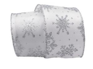 Weihnachtsband Étoiles 65mm weiß mit Draht - Geschenkband günstig online kaufen!
