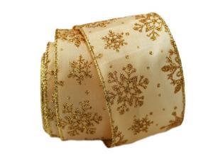 Weihnachtsband Étoiles 65mm gold mit Draht