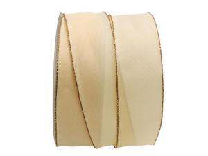 Uniband mit Goldkante creme satiniert 40mm mit Draht