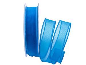 Organzaband Sottili blau 25mm ohne Draht