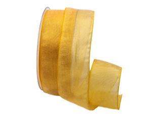 Organzaband Glitterato gelb 40mm ohne Draht