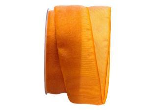 Organzaband Glitterato orange 40mm ohne Draht