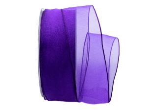 Organzaband Glitterato lila 40mm ohne Draht
