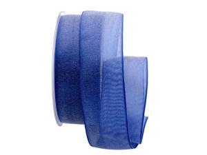 Organzaband Glitterato blau 40mm ohne Draht