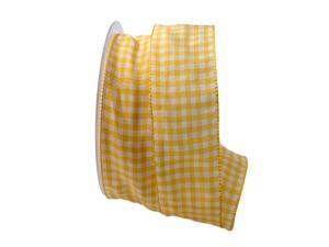 Karoband Landhauskaro gelb 40mm ohne Draht