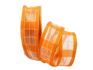 Dekoband Carreaux orange 40mm mit Draht