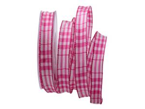 Karoband Popeline pink 15mm mit Draht - Geschenkband günstig online kaufen!