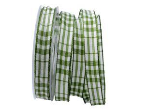 Karoband Popeline grün 15mm mit Draht