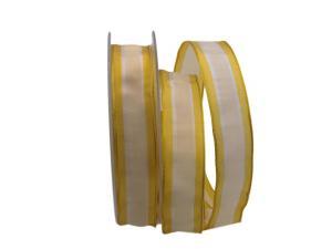 Dekoband Streifen gelb / weiß 25mm mit Draht - Dekoband günstig online kaufen!