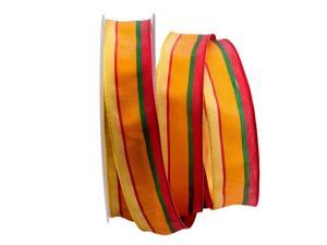 Dekoband Streifen gelb / orange / rot 25mm mit Draht - Dekoband günstig online kaufen!