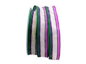 Dekoband Streifen grün / pink / weiß 25mm mit Draht - Dekoband günstig online kaufen!