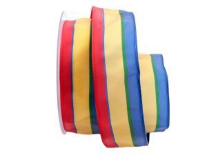 Dekoband Streifen rot / gelb / blau 40mm mit Draht - Dekoband günstig online kaufen!