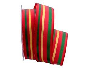 Dekoband Streifen rot / grün / gelb - Geschenkband günstig online kaufen!