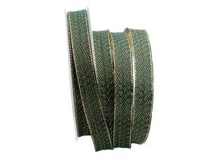 Weihnachtsband Oro Verde grün / gold 15mm mit Draht