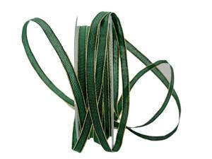 Geschenkband Stretto grün / gold 7mm mit Draht