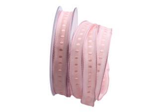 Dekoband Piccolo rosa 15mm mit Draht