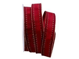 Streifenband Toluca rot 25mm mit Draht