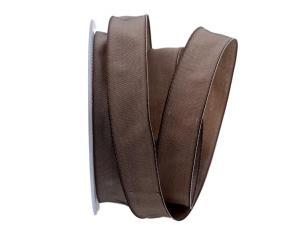 Uniband SONDERFARBE braun / cappuchino 25mm mit Drahtkante