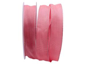 Uniband SONDERFARBE rosa dunkel 25mm mit Drahtkante