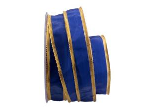 Uniband Goldkante blau 25mm mit Draht