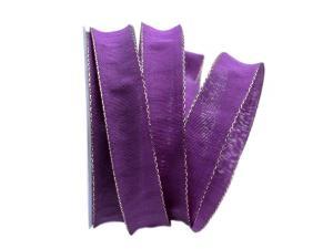 Uniband NATURAL lila mit Draht 25mm