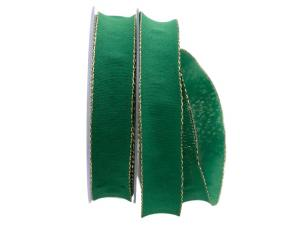 Uniband NATURAL grün mit Draht 25mm