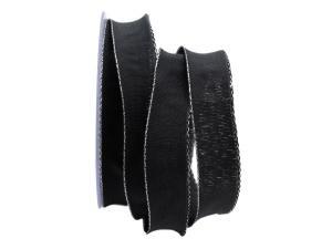 Uniband NATURAL schwarz mit Draht 25mm