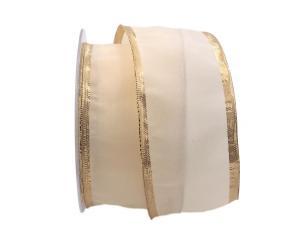 Uniband SONDERFARBE creme mit Goldrand mit Drahtkante 65mm - im Bänder Großhandel günstig kaufen!