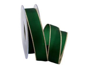 Uniband Goldkante grün 25mm mit Draht
