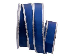 Uniband Silberkante blau 25mm mit Draht