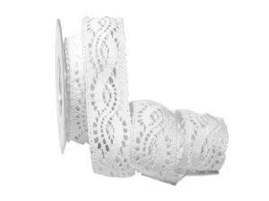 Dekoband Spitze 40mm weiß ohne Draht - Geschenkband günstig online kaufen!