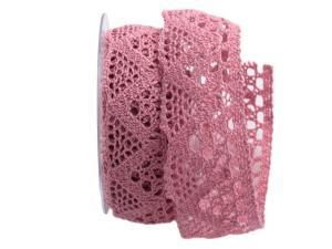 Dekoband Spitze rosa 45mm ohne Draht - Dekoband günstig online kaufen!