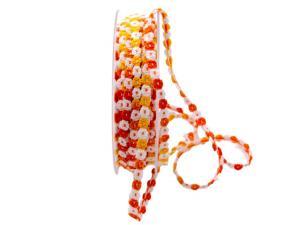 Baumwollband Blümchen orange 5mm ohne Draht - Geschenkband günstig online kaufen!