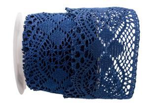 Dekoband Spitze dunkelblau ca. 95mm ohne Draht - Dekoband günstig online kaufen!