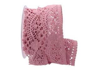 Dekoband Spitze rosa 50mm ohne Draht - Geschenkband günstig online kaufen!