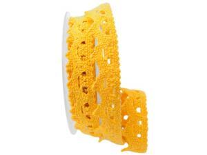 Dekoband Spitze gelb 25mm ohne Draht