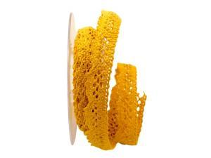 Dekoband Spitze gelb 20mm ohne Draht