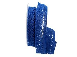 Dekoband Spitze blau 25mm ohne Draht