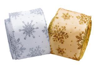 Weihnachtsband Étoiles SET 65mm silber / gold mit Draht