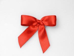 Fertigschleife 15 mm Satin rot 25 Stück selbstklebend - im Bänder Großhandel günstig kaufen!
