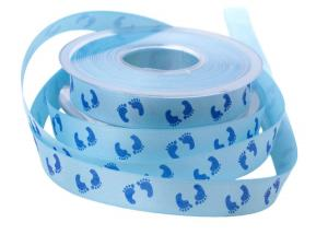 Babyband Kinderfüsschen hellblau 15mm ohne Draht