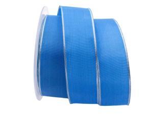 Basicband blau mit Silberkante 40mm mit Draht