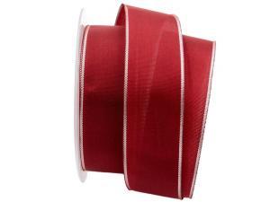 Basicband bordeaux mit Silberkante 40mm mit Draht