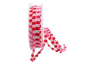 Baumwollband Blümchen rosa 5mm ohne Draht - Geschenkband günstig online kaufen!